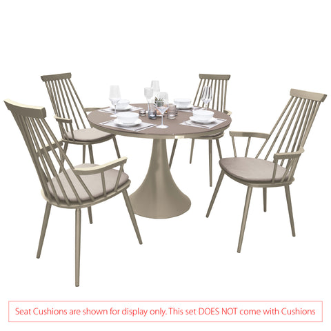 Garden Art® Royal Aluminium 4 Seater Dining Set in Light Taupe with Matte Cappuccino Glass (No Cushions)