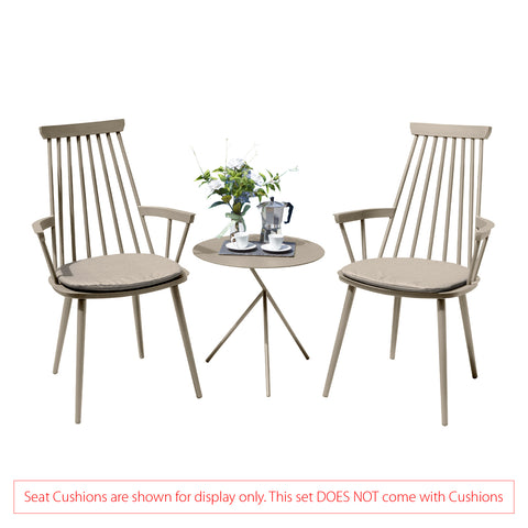 Garden Art® Royal Aluminium 2 Seater Tea for Two Set in Light Taupe with Explorer Table (No Cushions)