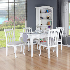 Oseasons® Provence Birch 4 Seater Dining Set in White with Rect. 4-6 Seat Extending Table
