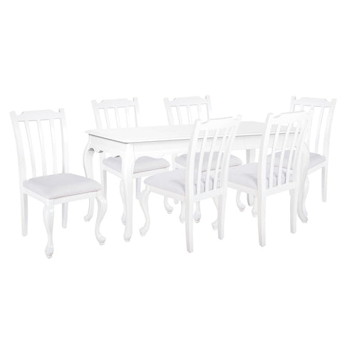 Oseasons® Provence Birch 6 Seater Dining Set in White with Rect. 4-6 Seat Extending Table