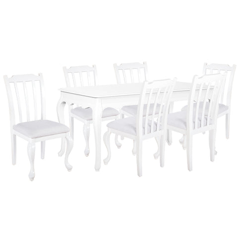 Oseasons® Provence Birch 6 Seater Dining Set in White with Rect. 6-8 Seat Extending Table