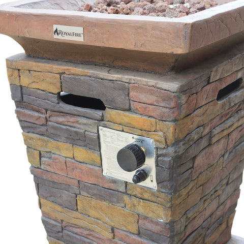 Royal Fire™ Fibreglass Tall Square Gas Firepit in Natural Stone