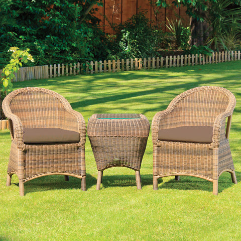 Cozy Bay® Sicilia Rattan Classic 2 Seater Tea For Two Set in 4 Seasons with Brown Cushions