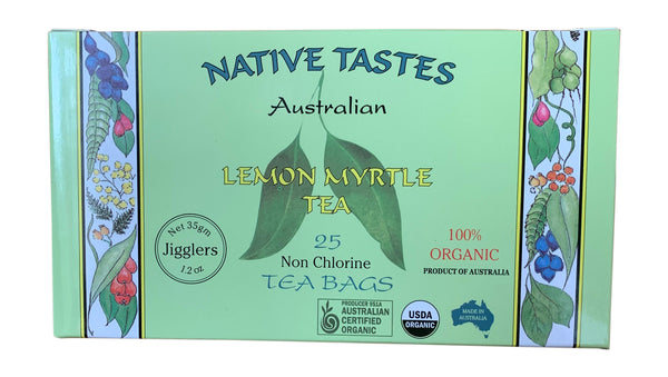 Organic Australian Lemon Myrtle Tea - More Natural Citral than Lemongrass Tea or Lemon Verbena Tea - 25 Tea Bags