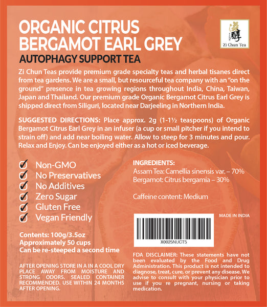 Organic Citrus Bergamot Earl Grey Tea - Autophagy and Anti-aging Tea
