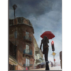 The Young Girl Hurries On The Street In The Rain-I