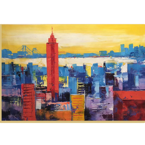 Large Original Abstract Color City Landscape Art, New York City   Skyline