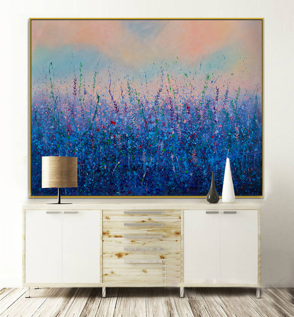 A Sea Of Flowers, Blue Flowers In The Afterglow - arttide