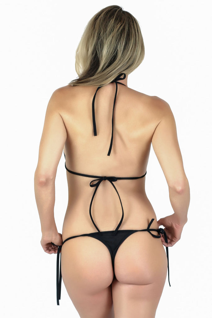 Connected Triangle Top a Tie Thong Bikini Bottom - Freshkini