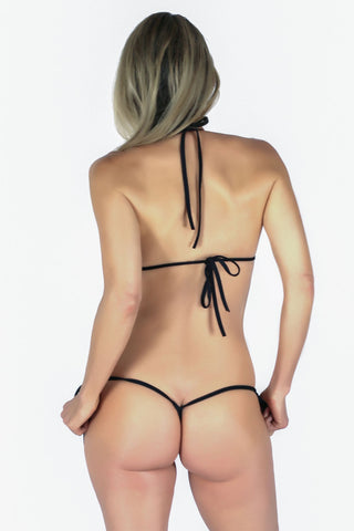 Connected Triangle Top a G-string Micro Tie Thong Bikini Bottom (Black) - Freshkini