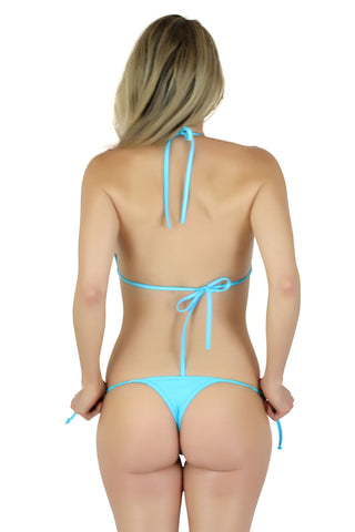 Connected Triangle Top a Tie Thong Bikini Bottom (BLUE) - Freshkini