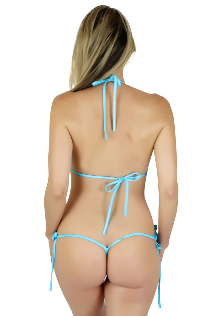 Connected Triangle Top a G-string Micro Tie Thong Bikini Bottom (Blue) - Freshkini