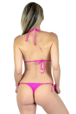 Connected Triangle Top a Tie Thong Bikini Bottom (Fuchsia) - Freshkini