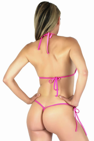Connected Triangle Top a G-string Micro Tie Thong Bikini Bottom (Fuchsia) - Freshkini