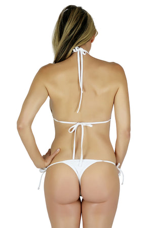 Connected Triangle Top a Tie Thong Bikini Bottom (White) - Freshkini