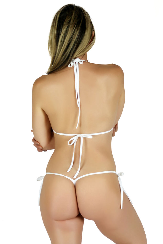Connected Triangle Top a G-string Micro Tie Thong Bikini Bottom (White) - Freshkini