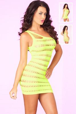 SIZZLE STRIPES SEAMLESS DRESS - YELLOW - Freshkini
