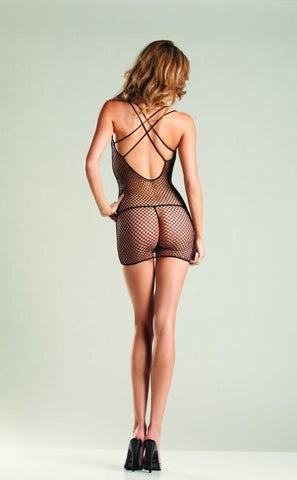Industrial Net Mini Dress With Criss-Cross Back - Freshkini