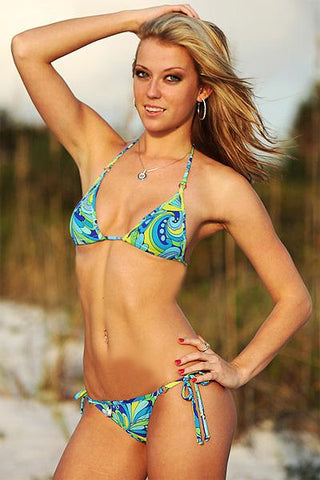 Image of Adj. Top and Brazilian Tie Bikini (Carnival Print) - Freshkini