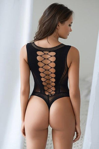 Lace Corset Back Romper Bodystocking - Freshkini