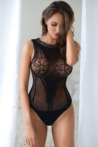 Image of Lace Corset Back Romper Bodystocking - Freshkini