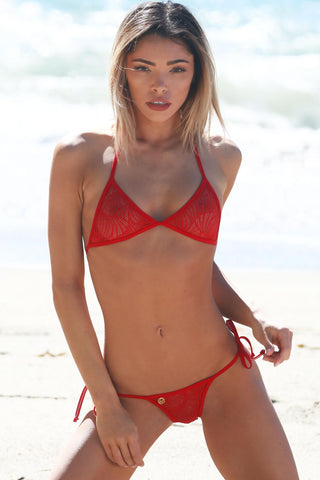 Image of *NEW* WAVE LACE TONGA TIE THONG BIKINI - Freshkini