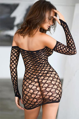 Image of Off The Shoulder Fishnet Bodystocking Dress - Freshkini