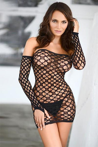 Off The Shoulder Fishnet Bodystocking Dress - Freshkini