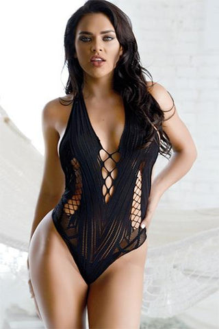 Image of Plunge Lace-Up Bodysuit Bodystocking - Freshkini