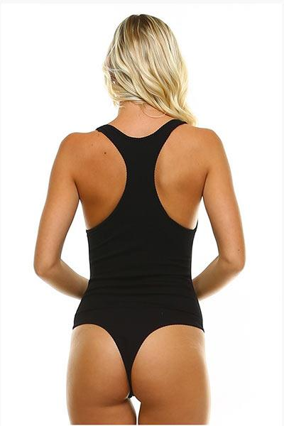 RACER BACK THONG BODYSUIT - BLACK - Freshkini