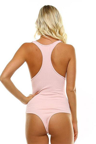 RACER BACK THONG BODYSUIT - BLUSH - Freshkini
