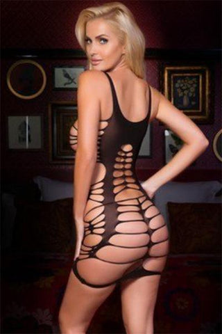 Scoopneck String Cut Out Bodystocking Dress - Freshkini