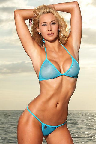 Image of Sheer Mesh G-String Bikini Set (Blue) - Freshkini