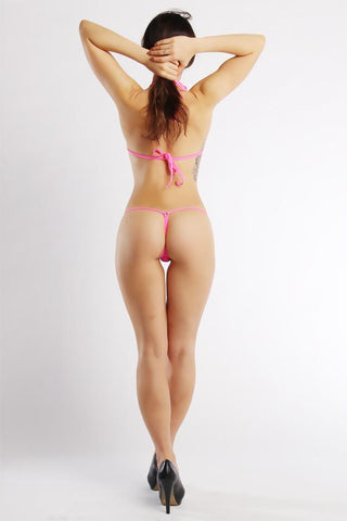 Sheer Mesh G-String Bikini Set (Lace Wave: Pink) - Freshkini