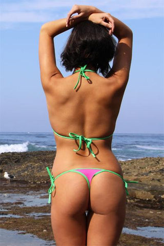 Image of See Through Mesh Tie Thong Bikini (Water Melon) - Freshkini