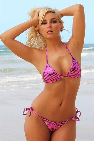 Connected Top and Brazilian Tie Bikini (Pink Shimmer Zebra) - Freshkini