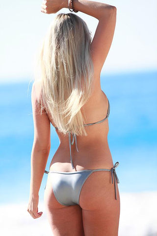 Image of Brazilian String Bikini in Silver Metallic - Freshkini