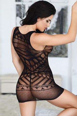 Sleeveless Tribal Mesh Fishnet Bodystocking Dress - Freshkini