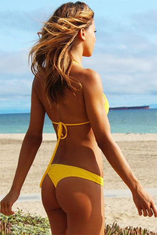 NEW - Soleil Yellow Cheeky Thong - Freshkini