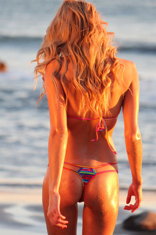 STRAPPY THONG BIKINI SET IN *SUNSET MAUI* - Freshkini