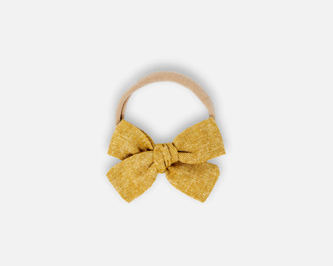 Petite Bow in Leathered - Linen