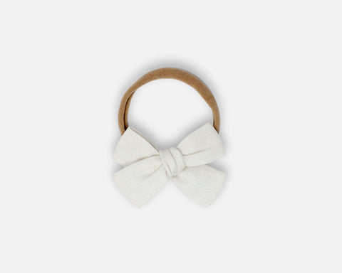 Petite Bow in White - Linen