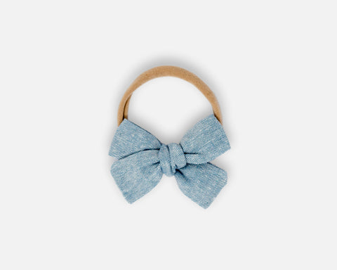 Petite Bow in Chambray - Linen