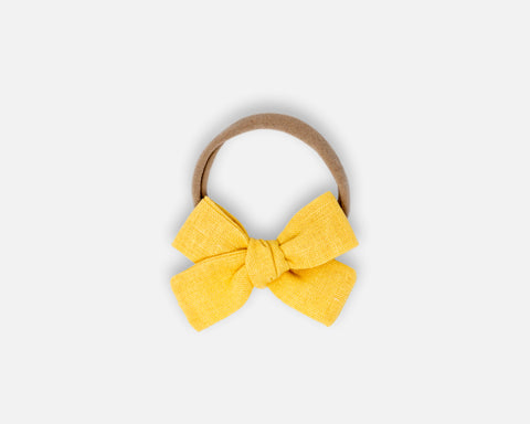 Petite Bow in Buttercup - Linen