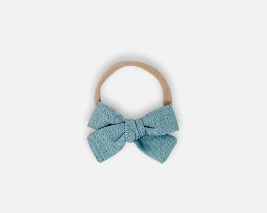 Dusty Blue - Petite Bow - Linen
