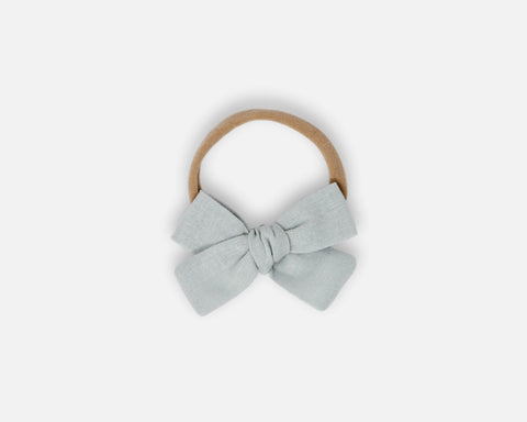 Petite Bow in Silver - Linen