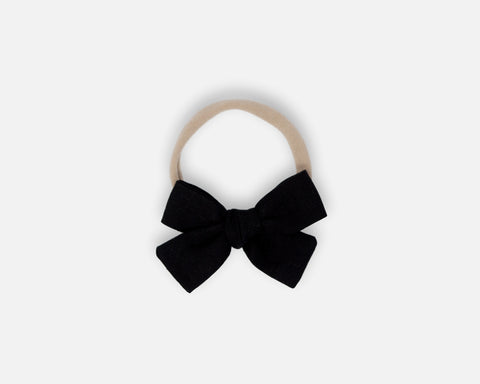 Petite Bow in Black - Linen