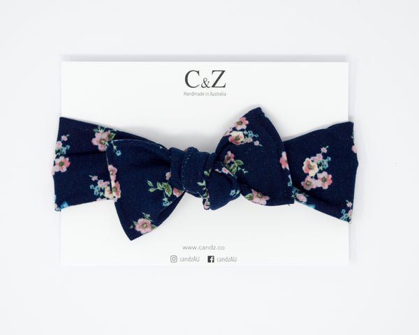 Tie On Headwrap - Floral Bouquet in Navy