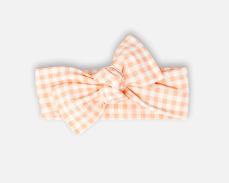 Gingham in  Sand Pink - Tie On Head Wrap