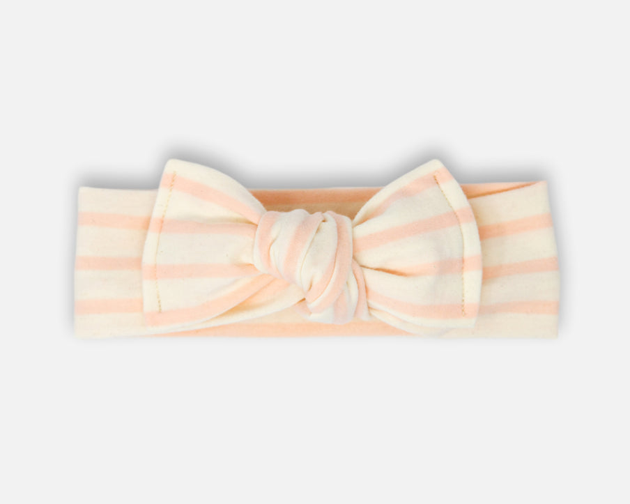 Rose Stripes in Ivory - Tie On Head Wrap
